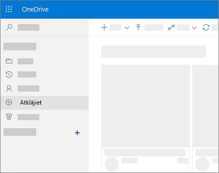 Atklāšanas skata ekrānuzņēmums pakalpojumā OneDrive darbam