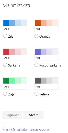 Ekrānuzņēmums, kurā redzamas SharePoint krāsu opcijas, kas pieejamas vietnes izskata maiņai.