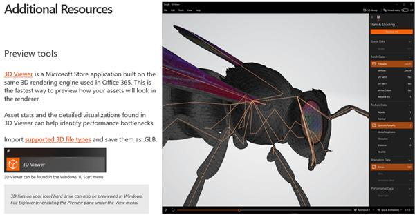 Ekrānuzņēmums no 3D satura pamatnostādņu sadaļas papildu resursi