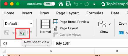Tiek rādīta Excel izklājlapa