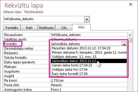 Rekvizītu lapas attēls ar attēlotu nolaižamo sarakstu Formāts.