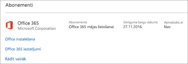 Ja jūsu Office 365 izmēģinājumversija ir instalēta jaunā datorā, tās derīguma termiņš beigsies norādītajā datumā