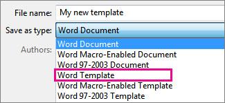 Dokumenta saglabāšana veidnes formātā