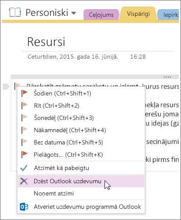 Ekrānuzņēmums par to, kā izdzēst Outlook uzdevumu programmā OneNote2016.