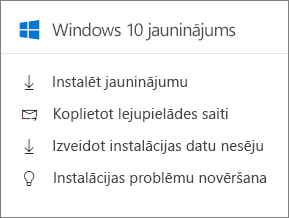 Windows 10 jaunināšanas kartes administrēšanas centrā.