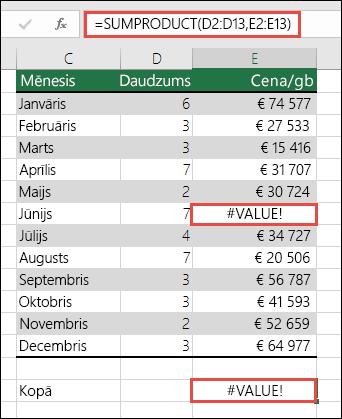 Formula šūnā E15 parāda kļūdu #VALUE!, jo kļūda #VALUE! ir kolonnā E.