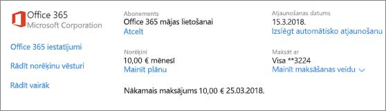 Ekrānuzņēmums ar lapu apkalpošana un abonementi Office 365 mājas lietošanai paredzētu abonementu, informācija par abonementu.