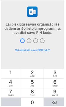 Savā iOS ierīcē ievadiet PIN, lai varētu piekļūt Office programmām.