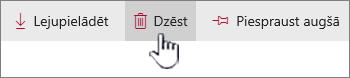 Dzēšanas ikonas un iezīmētu augšējā saišu joslā saiti