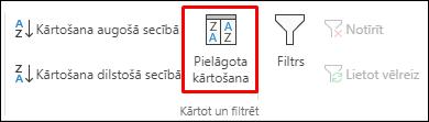 Excel pielāgotās kārtošanas opcija cilnē Dati
