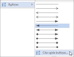 Noklikšķinot uz citas bultiņas, lai pielāgotu līnijas vai bultiņas