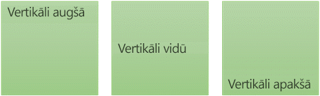 Trīs vertikālas teksta līdzinājuma opcijas: augšā, vidū un apakšā