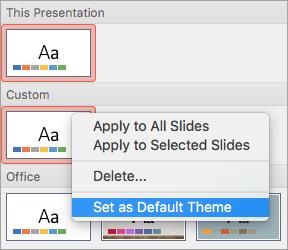 Tiek rādīta opcija iestatīt kā noklusējuma dizainu pielāgotam dizainam