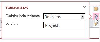 Tīmekļa datu lapas skata dialoglodziņš Formatējums