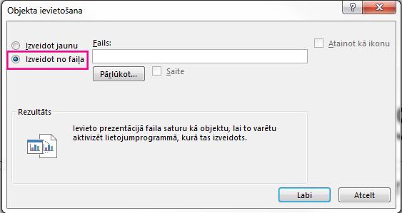 """Objekta ievietošanas dialoglodziņš ar atlasītu opciju """"Izveidot no faila"""""""
