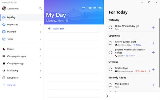 Ekrānuzņēmums ar to-do operētājsistēmā Windows 10, kurā tiek rādīta mana diena ar ieteikumiem, kas šodien grupēti pēc vakardienas, gaidāmo, noKavēto un nesen pievienoto