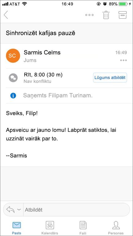 Attēlā redzams mobilās ierīces ekrāns ar e-pasta vienumu.