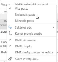 Attēlā redzams Nelasītais pasts opciju atlasījāt visu nolaižamajā izvēlnē iesūtnes lentē.