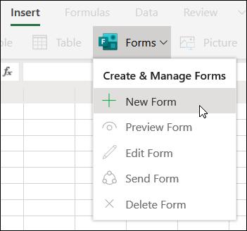 Opcija Ievietot jaunu veidlapu programmā Excel Online