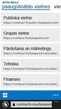 Paaugstinātās vietnes pakalpojumā SharePoint Online mobilajā ierīcē
