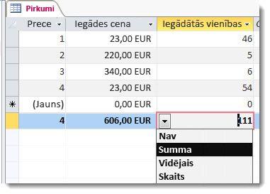 kopsummas rinda ar summas un skaita funkciju