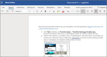 Dokuments ar attēliem programmā Word Online