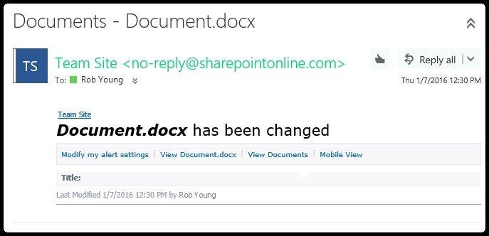 SharePoint brīdinājumu paziņojuma ekrānuzņēmums