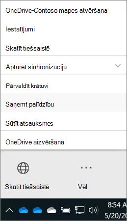 OneDrive darbam datora klienta izvēlne vēl, kurā redzama palīdzības saņemšana un atsauksmju sūtīšanas opcijas