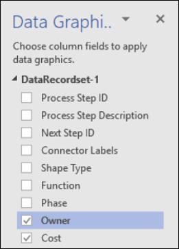 Datu grafikas lietošana Visio datu vizualizētāja shēmām, izmantojot datu grafikas rūti