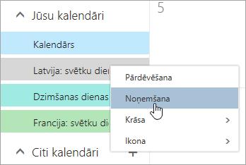 Ekrānuzņēmums, kurā opcija noņemt kalendāru