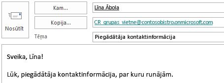 E-pasta ziņojums ar kopijas laukā norādītu vietnes pastkasti.