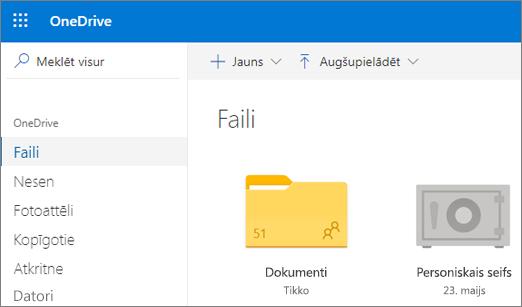 Ekrānuzņēmums, kurā personiskais seifs redzams OneDrive tīmeklī failu skatā.