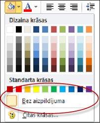 Opcijas Nesen lietotās krāsas