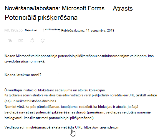 Norādīšana uz veidlapu administrēšanas pārskata URL hipersaite Microsoft 365 administrēšanas centra izlikšana par Microsoft Forms un pikšķerēšanu noteikšana