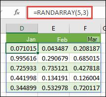Funkcija RANDARRAY programmā Excel. RANDARRAY(5;3) atgriež nejaušas vērtības no 0 līdz 1 masīvā, kas ir 5 rindas ar 3 kolonnām.