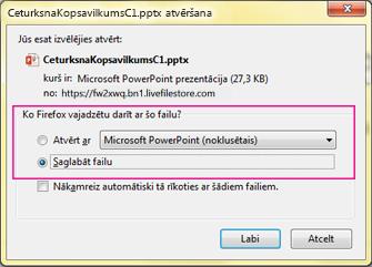 Kas programmai Firefox ir jādara ar šo failu?