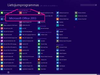 Atrast Office lietojumprogrammu pēc nosaukuma