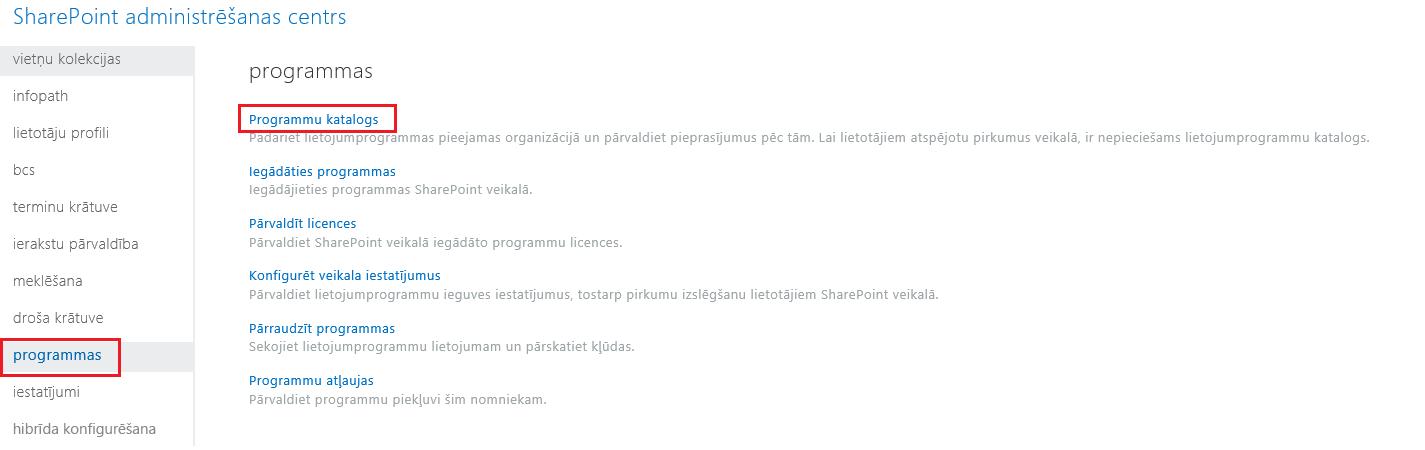 SharePoint administrēšanas centra lietojumprogrammu kategoriju ekrānuzņēmums.
