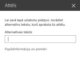 Ekrānuzņēmums ar attēla alternatīvā teksta dialoglodziņu pakalpojumā SharePoint.