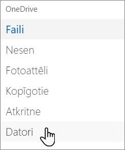 OneDrive portāla kreisās puses navigācija, kurā redzami PC datori