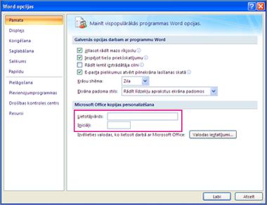 Word 2007 personalizēt opcijas