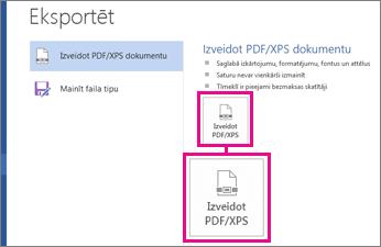Poga Izveidot PDF/XPS programmas Word2016 cilnē Eksportēšana.