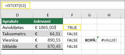Šūna F2 ar =ISTEXT(E2) un rezultātu TRUE