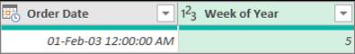 Kolonnas pievienošana, lai iegūtu datuma nedēļas numuru