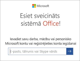 Ievadiet sava Microsoft konta e-pasta adresi vai Office 365 kontu