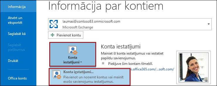 Konta iestatījumi programmā Outlook