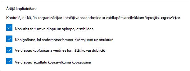 Microsoft Forms administratora iestatījums ārējai koplietošanai