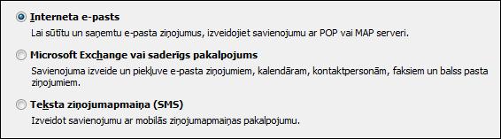 Jaunajam kontam paredzēts Outlook2010 izvēles pakalpojums