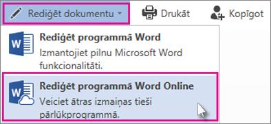 Rediģēšana pakalpojumā Word Online