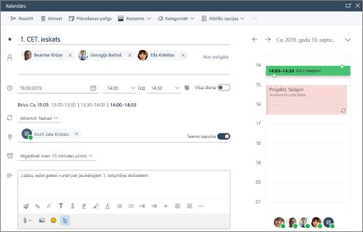 Tikšanās plānošana programmā Outlook tīmeklī